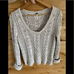Free People cotton cable-knit sweater in oatmeal
